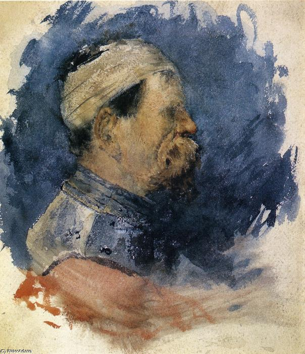 Portrait of a Man, Watercolour by William Merritt Chase (1849-1916, United States)