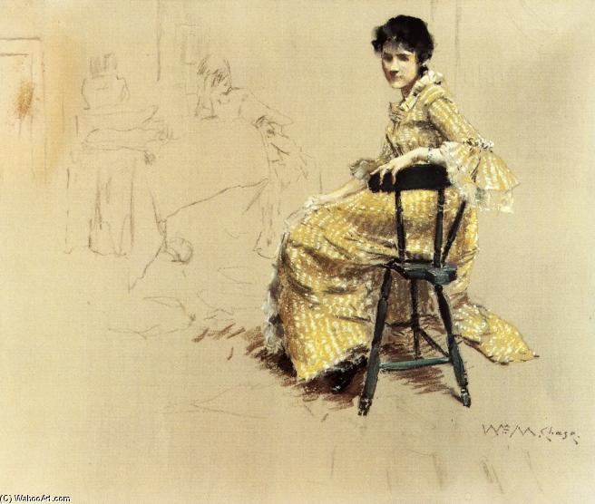 Seated Woman in Yello Striped Gown, Pastel by William Merritt Chase (1849-1916, United States)