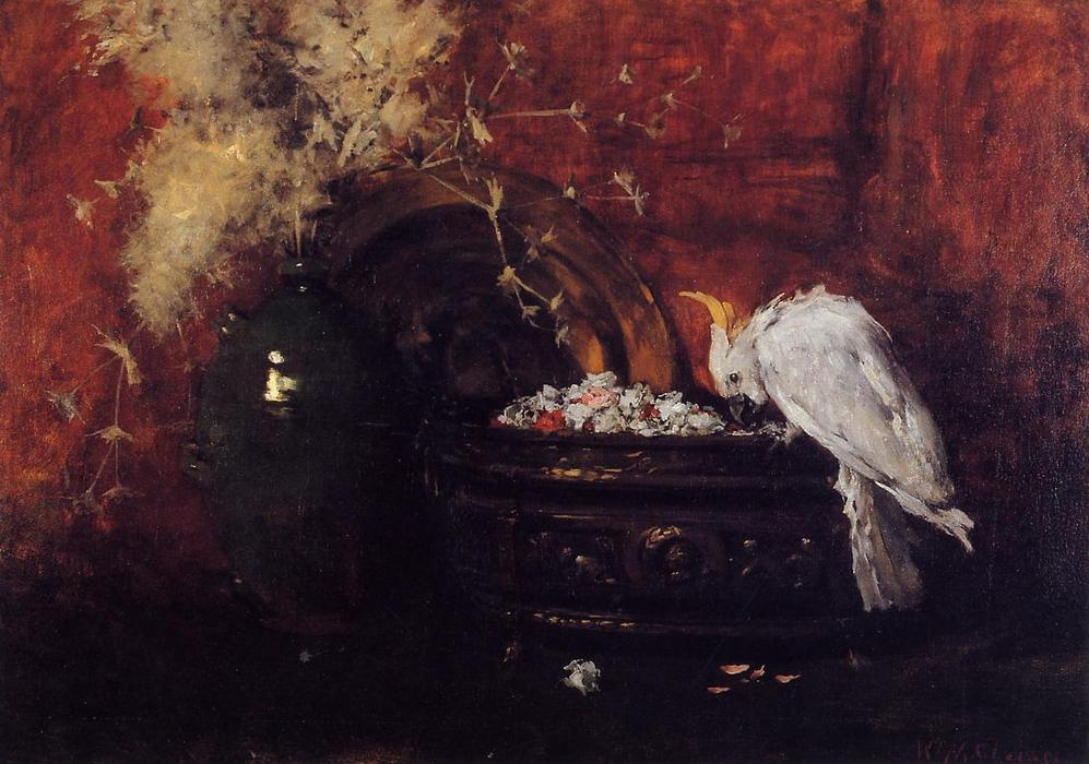 Still Life with Cockatoo, Oil On Canvas by William Merritt Chase (1849-1916, United States)