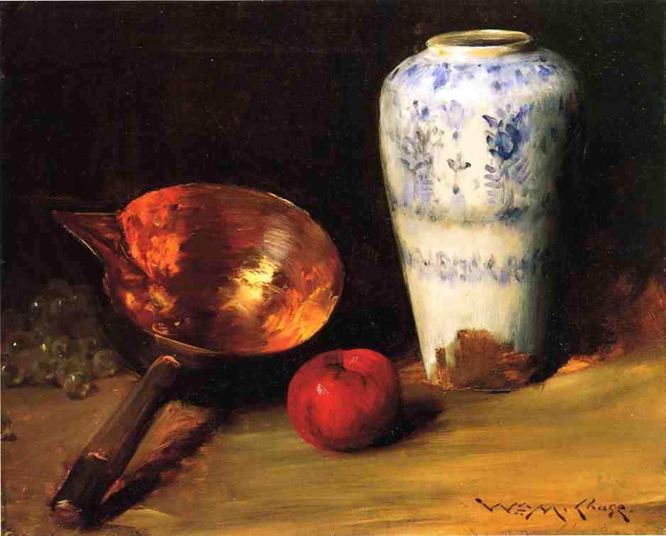 Still Liife with China Vase, Copper Pot, an Apple and a Bunch of Grapes, Oil by William Merritt Chase (1849-1916, United States)