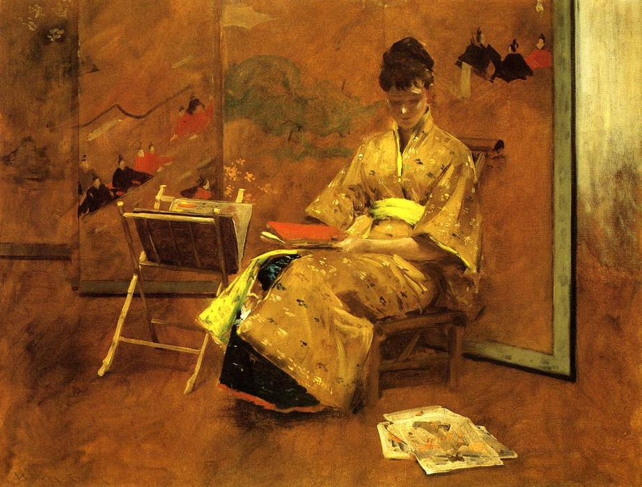 The Kimono, Oil On Canvas by William Merritt Chase (1849-1916, United States)