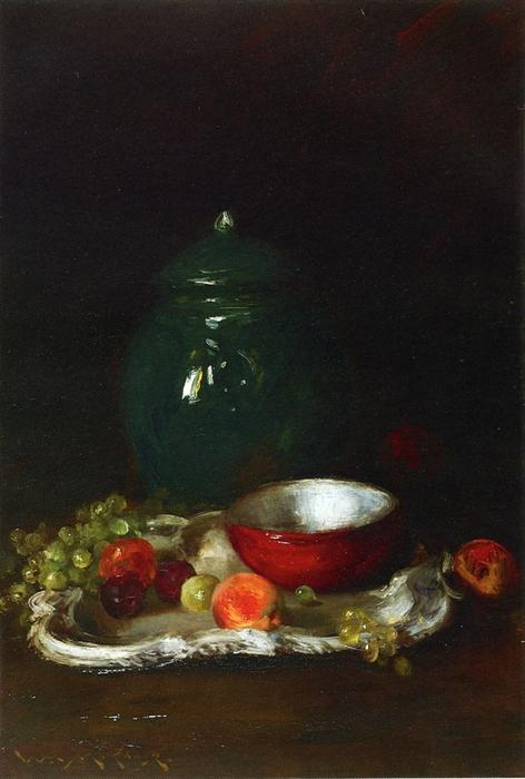 The LIttle Red Bowl, Oil by William Merritt Chase (1849-1916, United States)