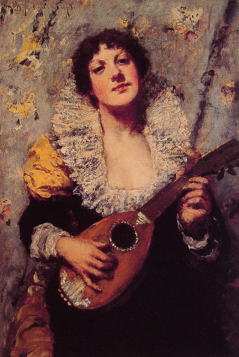 The Mandolin Player, Oil On Canvas by William Merritt Chase (1849-1916, United States)