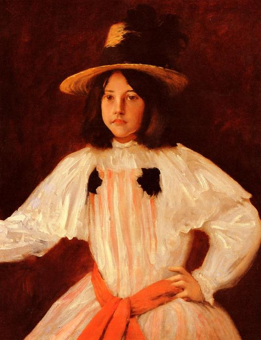 The Red Sash, Oil On Canvas by William Merritt Chase (1849-1916, United States)