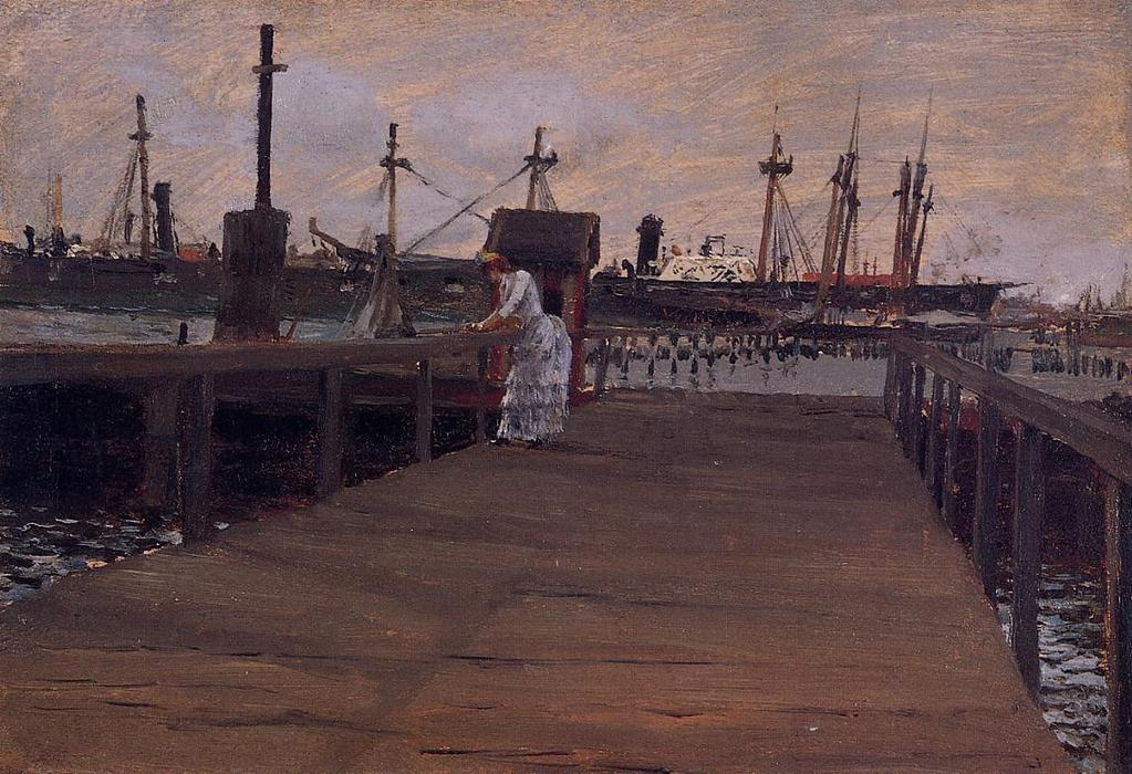Woman on a Dock, Oil by William Merritt Chase (1849-1916, United States)