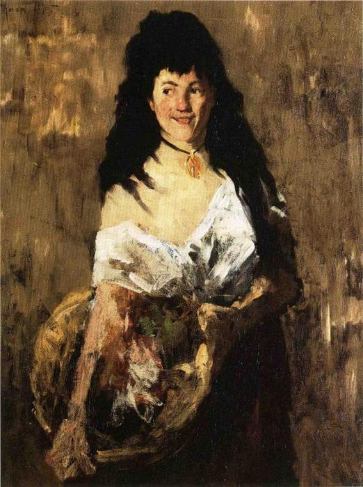 Woman with a Basket, 1875 by William Merritt Chase (1849-1916, United States) | Painting Copy | ArtsDot.com