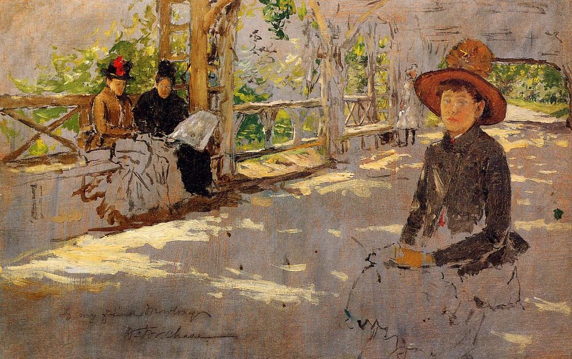 Women under Trellis (unfinished), Oil On Panel by William Merritt Chase (1849-1916, United States)