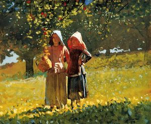 Winslow Homer - Apple Picking (aka Two Girls in sunbonnets or in the Orchard)