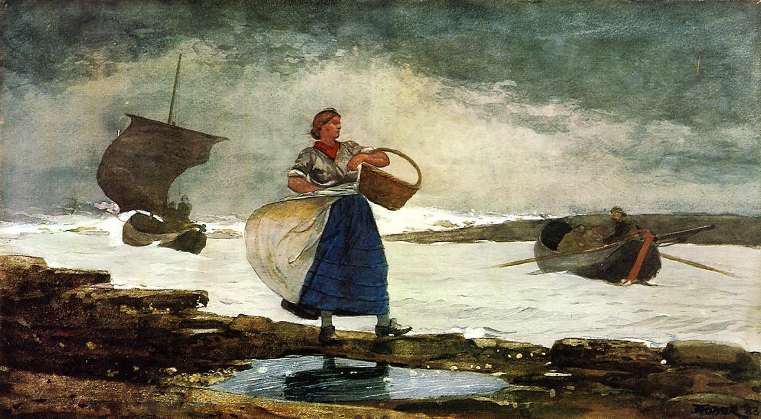Inside the Bar, Tynemouth, 1883 by Winslow Homer (1836-1910, United States) | Oil Painting | ArtsDot.com