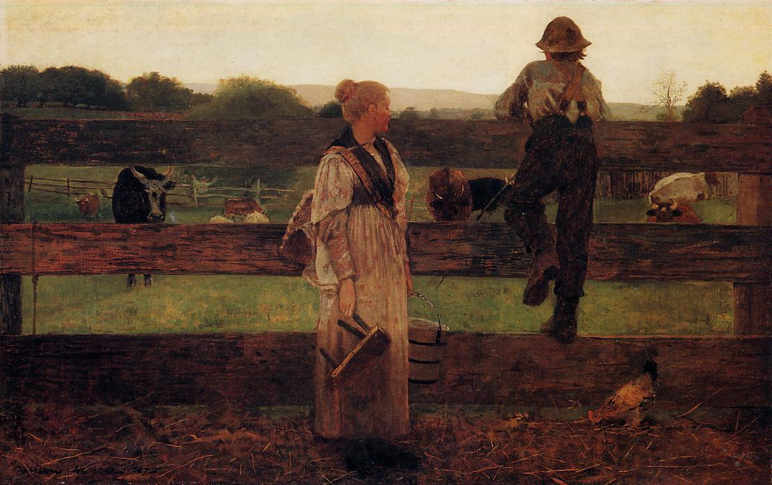 Milking Time, 1875 by Winslow Homer (1836-1910, United States) | Art Reproduction | ArtsDot.com