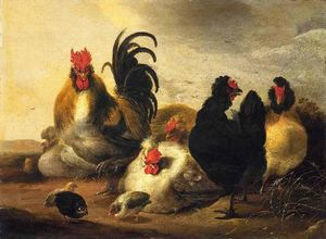 Aelbert Jacobsz Cuyp - A rooster and chickens