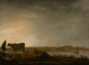 Aelbert Jacobsz Cuyp - A View of Vianen with a H..