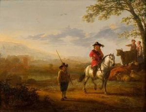 Aelbert Jacobsz Cuyp - Landscape with rider, she..