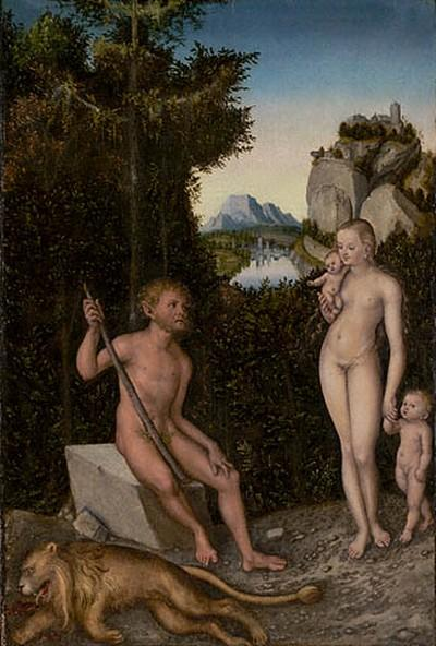 A Faun and His Family with a Slain Lion, Oil by Lucas Cranach The Elder (1472-1553, Germany)