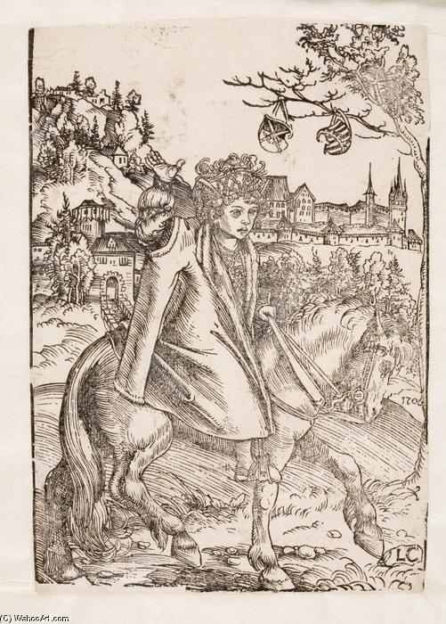 A Saxon prince on horseback, Oil by Lucas Cranach The Elder (1472-1553, Germany)