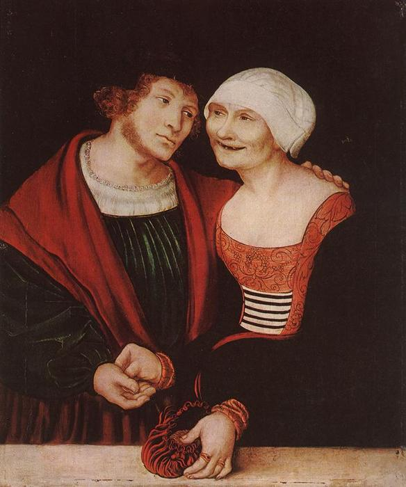 Amorous Old Woman and Young Man, Oil by Lucas Cranach The Elder (1472-1553, Germany)