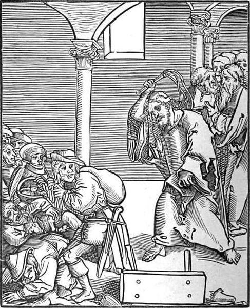 Christ drives the Usurers out of the Temple, Oil by Lucas Cranach The Elder (1472-1553, Germany)