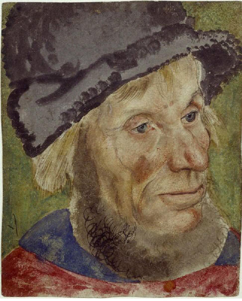 Head of a peasant man, Oil by Lucas Cranach The Elder (1472-1553, Germany)