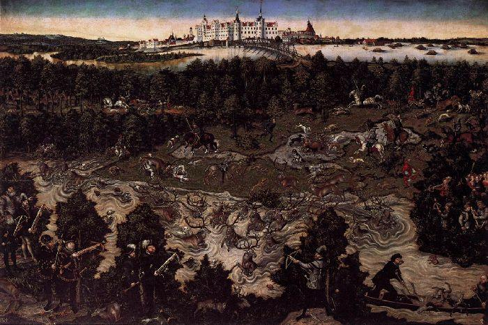Hunt in Honour of Charles V at the Castle of Torgau 1, Oil by Lucas Cranach The Elder (1472-1553, Germany)