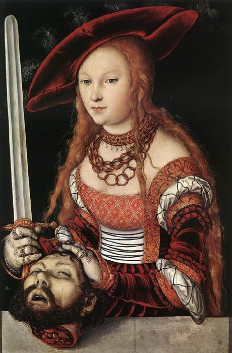 Judith with the head of Holofernes, Oil by Lucas Cranach The Elder (1472-1553, Germany)