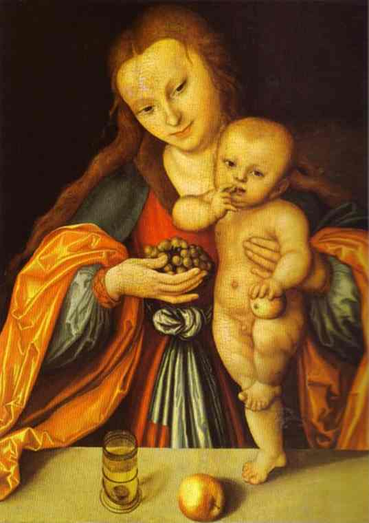 Madonna and Child 1, Oil by Lucas Cranach The Elder (1472-1553, Germany)
