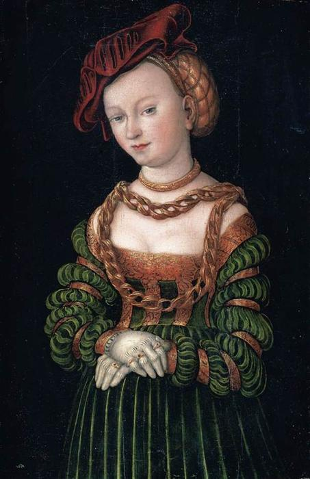 Portrait of a Young Woman 1, Oil by Lucas Cranach The Elder (1472-1553, Germany)