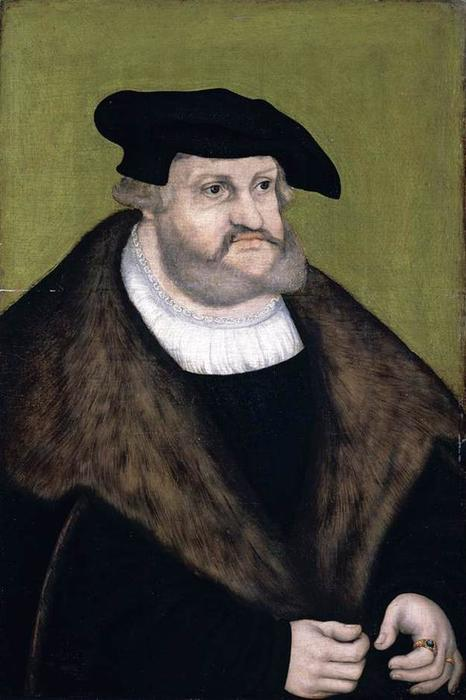 Portrait of Elector Frederick the Wise in his Old Age, Oil On Panel by Lucas Cranach The Elder (1472-1553, Germany)
