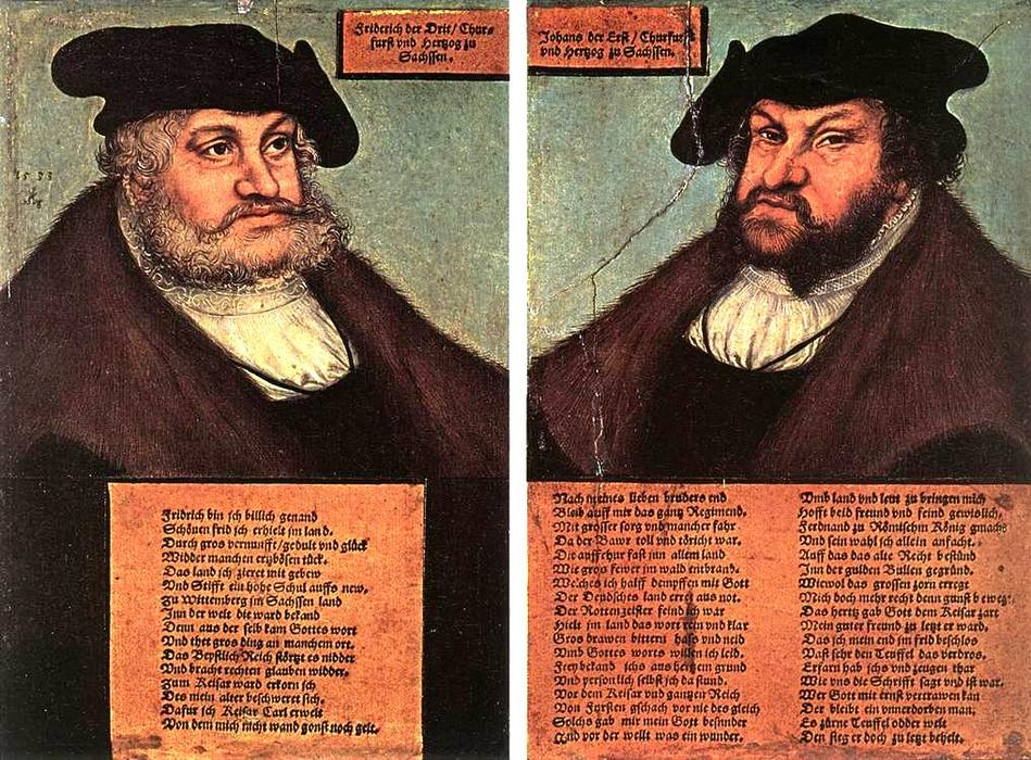 Portraits of Johann I and Frederick III the wise, Electors of Saxony, Oil On Panel by Lucas Cranach The Elder (1472-1553, Germany)