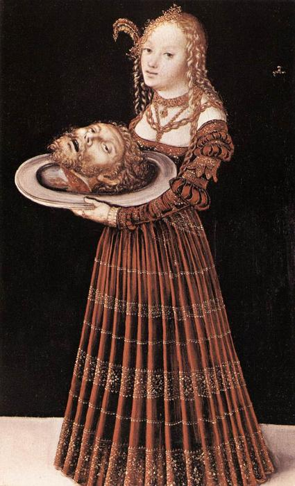 Salome with the Head of St. John the Baptist, Oil On Panel by Lucas Cranach The Elder (1472-1553, Germany)