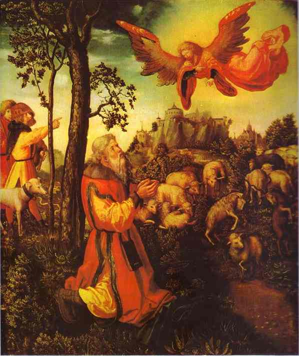 The Appearance of an Angel before Joachim, Oil by Lucas Cranach The Elder (1472-1553, Germany)