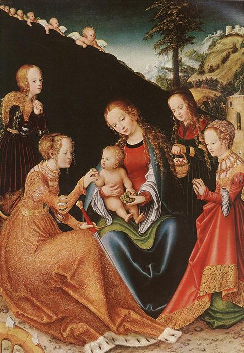The Mystic Marriage of St. Catherine, 1516 by Lucas Cranach The Elder (1472-1553, Germany)