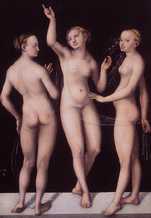 The Three Graces, Oil by Lucas Cranach The Elder (1472-1553, Germany)