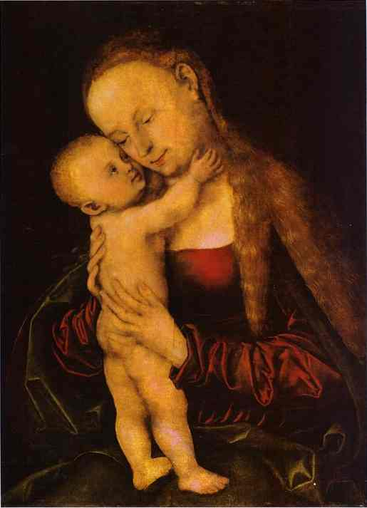 Virgin and Child 1, Oil by Lucas Cranach The Elder (1472-1553, Germany)