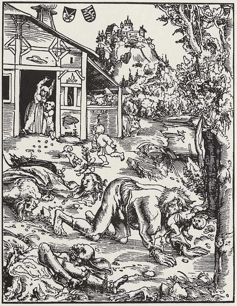 Werewolf, Oil by Lucas Cranach The Elder (1472-1553, Germany)
