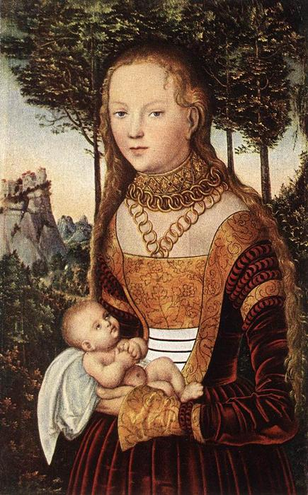 Young Mother with Child, Oil On Panel by Lucas Cranach The Elder (1472-1553, Germany)