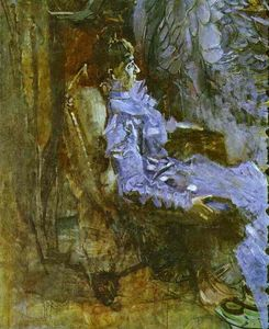 Mikhail Vrubel - Lady in a Violet Dress (Portrait of Nadezhda Zabela-Vrubel, the Artist-s Wife)