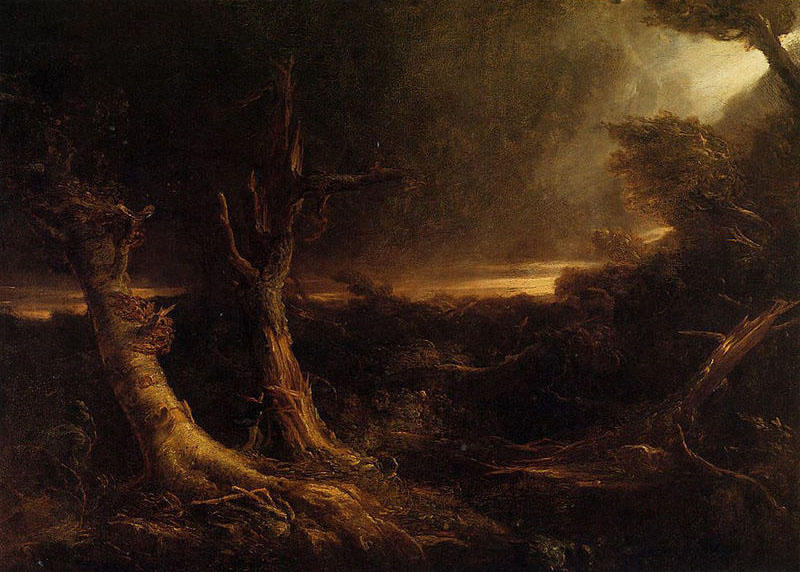 A Tornado in the Wilderness, Oil by Thomas Cole (1801-1848, United Kingdom)