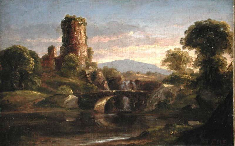 Castle and River, Oil by Thomas Cole (1801-1848, United Kingdom)