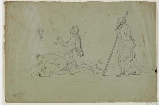 Composition Study of Three Shepherds, Illustration by Thomas Cole (1801-1848, United Kingdom)