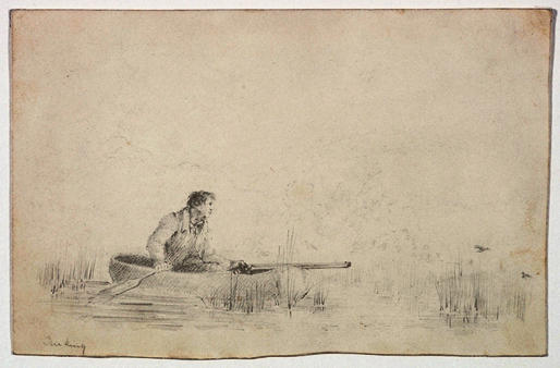 Ducking - Man in a Boat Holding Gun, Engraving by Thomas Cole (1801-1848, United Kingdom)