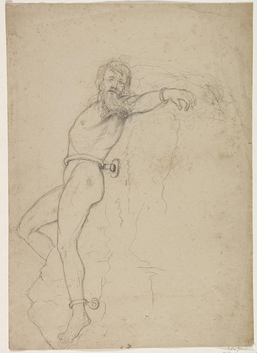 Figure Study for PROMETHEUS, Oil by Thomas Cole (1801-1848, United Kingdom)