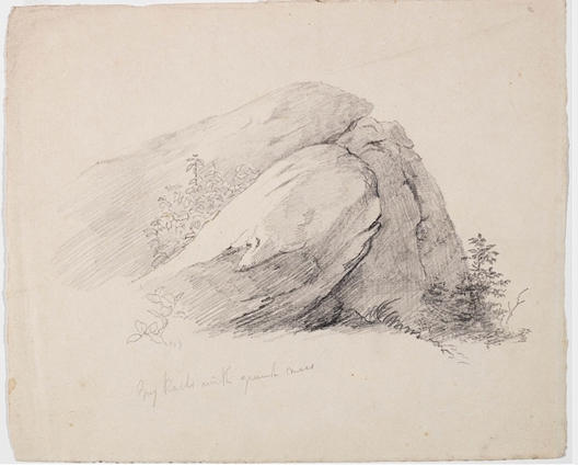 Gray Rocks with Green Moss, Oil by Thomas Cole (1801-1848, United Kingdom)