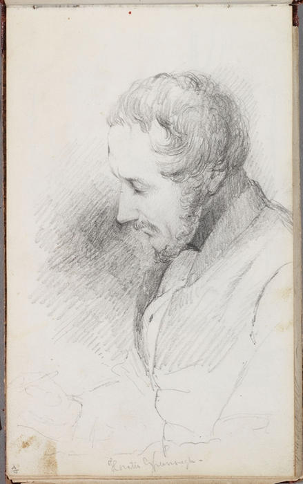 Horatio Greenough, Watercolour by Thomas Cole (1801-1848, United Kingdom)