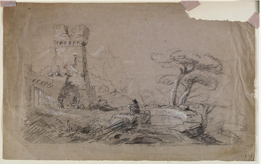 Landscape with Ruins and Man Sketching, Watercolour by Thomas Cole (1801-1848, United Kingdom)