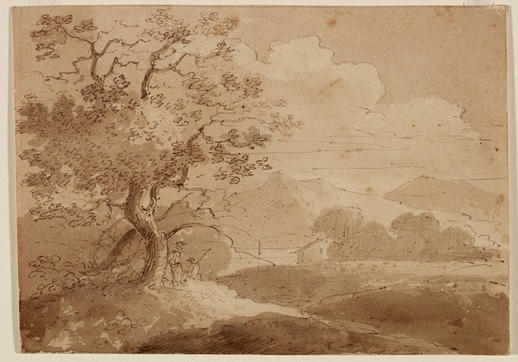 Large Trees in Foreground, Two Figures, House, lake and Mountains, Illustration by Thomas Cole (1801-1848, United Kingdom)