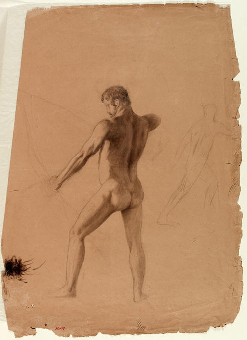 Nude Male with Bow and Arrow, Oil by Thomas Cole (1801-1848, United Kingdom)