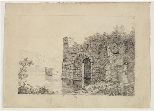 Ruins with Arch by River, Watercolour by Thomas Cole (1801-1848, United Kingdom)