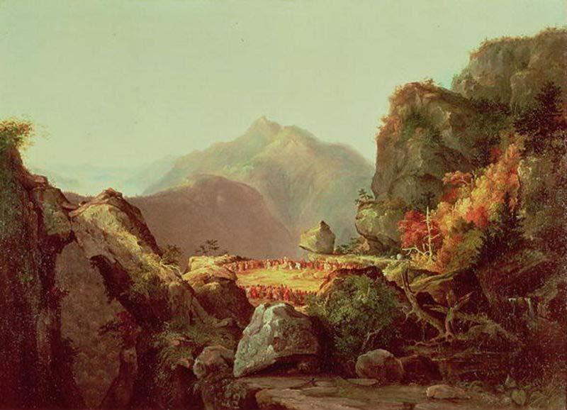 Scene from The Last of the Mohicans, Oil by Thomas Cole (1801-1848, United Kingdom)