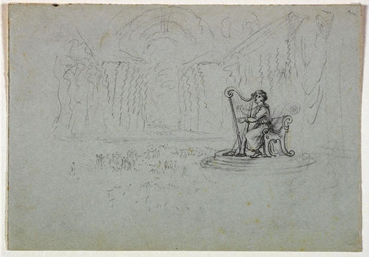 Seated Figure with a Harp, Engraving by Thomas Cole (1801-1848, United Kingdom)