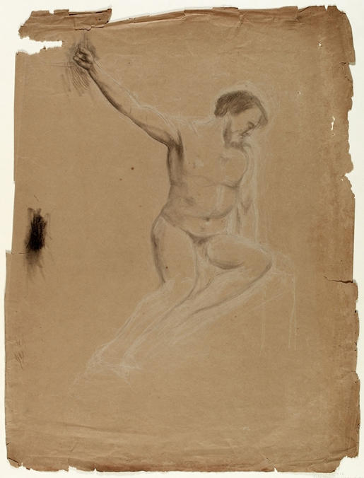 Seated Nude Male Figure, Engraving by Thomas Cole (1801-1848, United Kingdom)